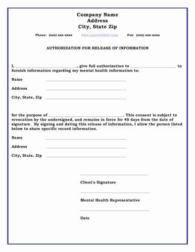 Information Release form Template Best Of Vstvnfkclbsv Standard Release Of Information form