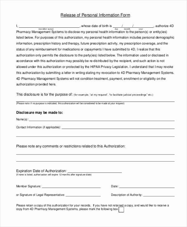 Information Release form Template Elegant Free 8 Sample Personal Information forms