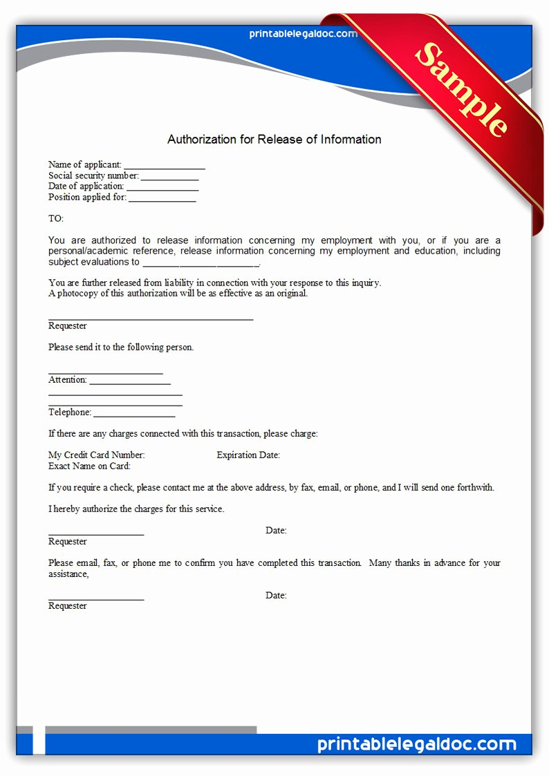 Information Release form Template Fresh Authorization for Release Information form Free Printable