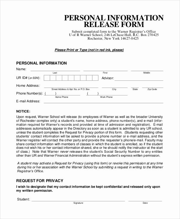 Information Release form Template Fresh Generic Release forms