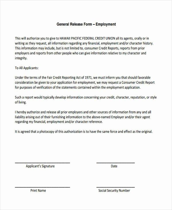 Information Release form Template Inspirational General Release Information form
