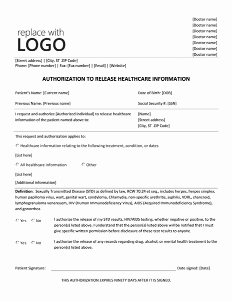 Information Release form Template Lovely Authorization to Release Healthcare Information form
