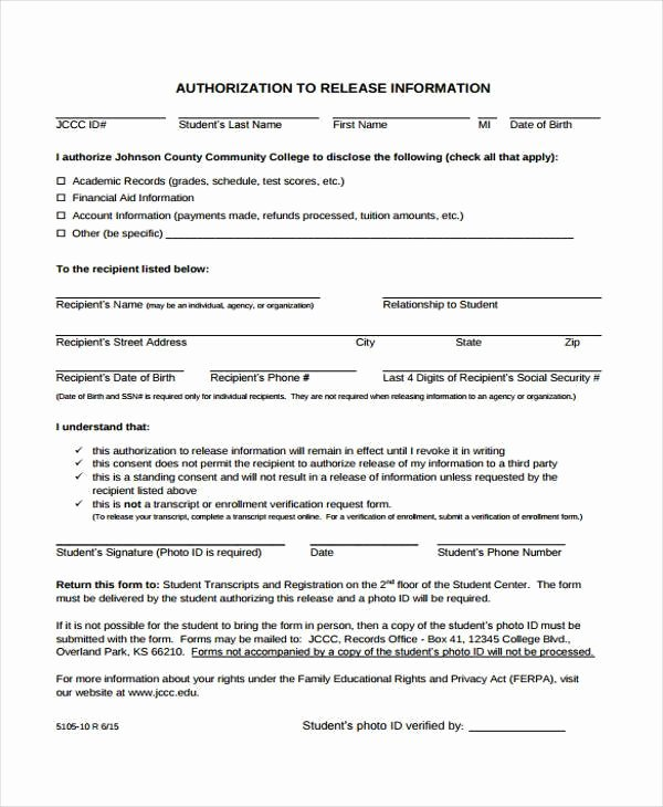 Information Release form Template New Free 38 Release form Templates