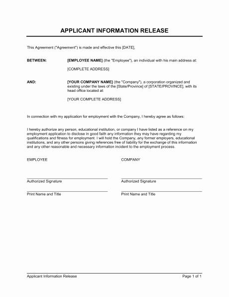 Information Release form Template Unique Authorization Release form