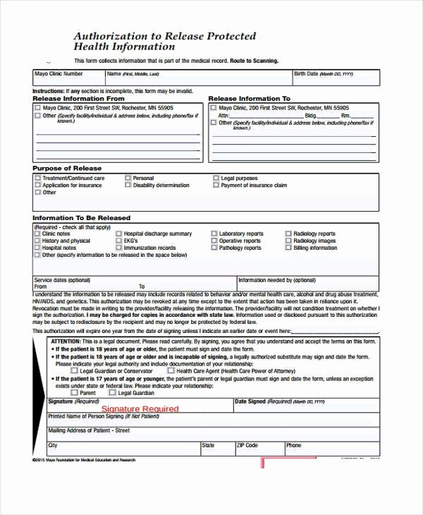 Information Release form Template Unique Free 38 Release form Templates