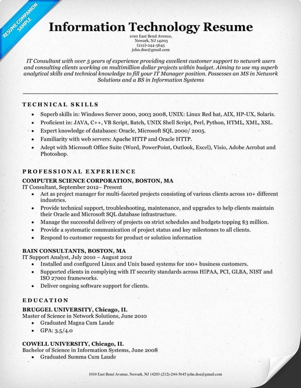 Information Technology Resume Template Beautiful Information Technology It Resume Sample