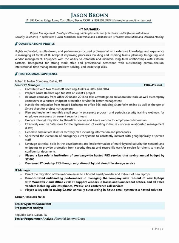 Information Technology Resume Template Best Of Information Technology Resume Examples