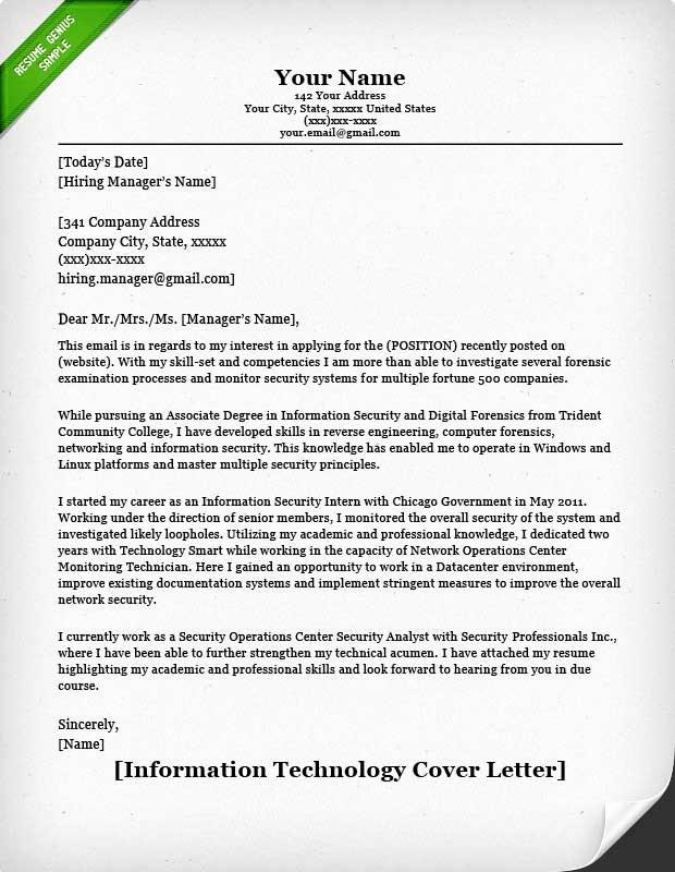 Information Technology Resume Template Elegant Information Technology Cover Letter