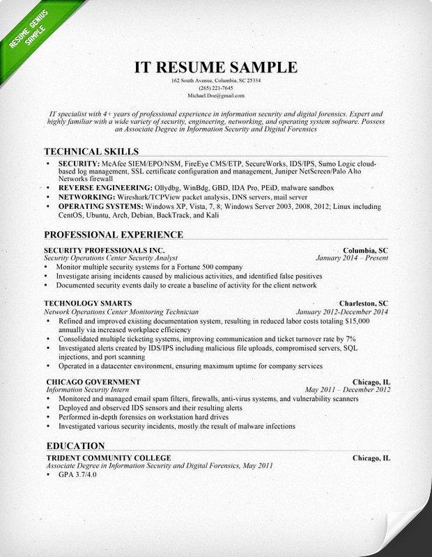 Information Technology Resume Template Elegant Information Technology It Resume Sample