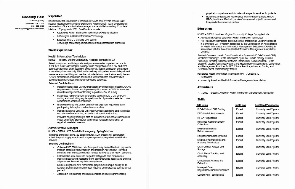 Information Technology Resume Template New Health Information Technician Sample Resume