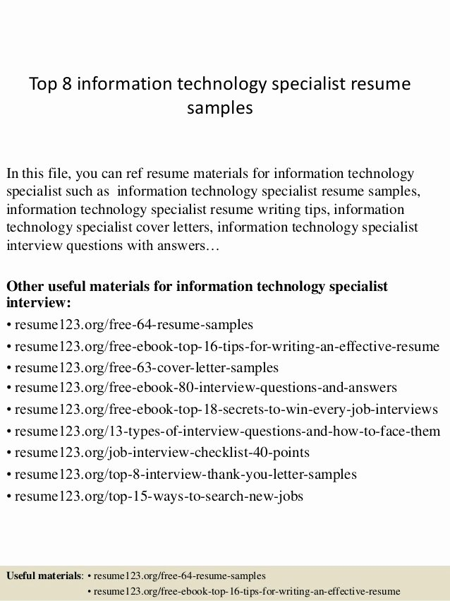 Information Technology Resume Template New top 8 Information Technology Specialist Resume Samples