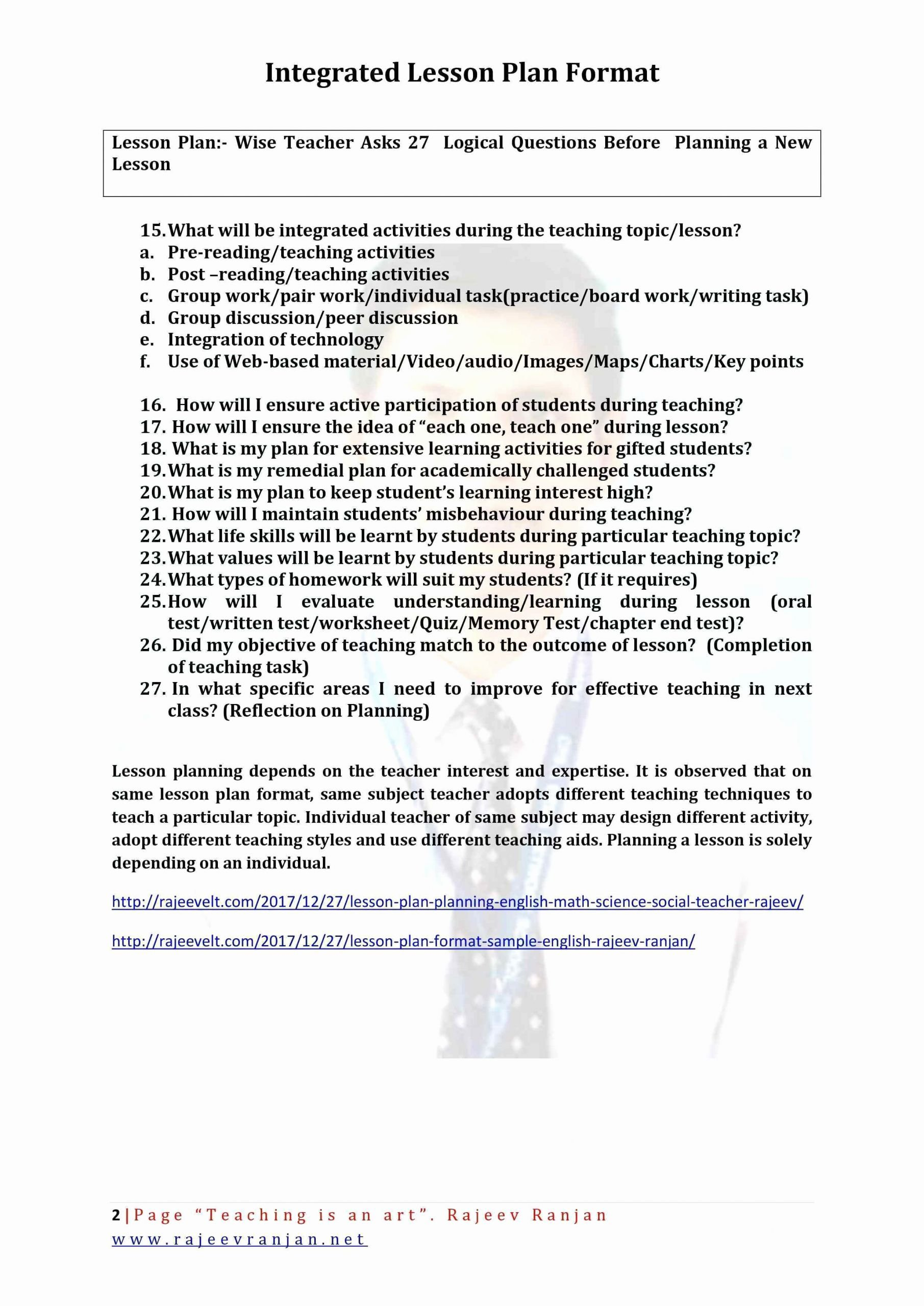Integrated Lesson Plan Template Elegant 13 14 Lesson Plan Sample In English
