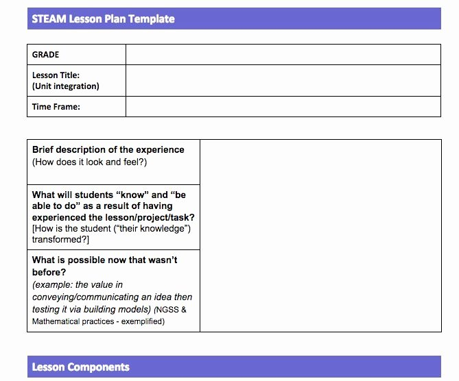 Integrated Lesson Plan Template Elegant Steam Lesson Plan Template Steam