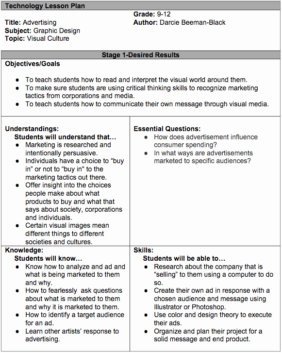 Integrated Lesson Plan Template Lovely Technology Lesson Plan Darcie Beeman Black