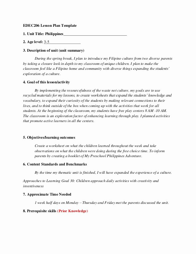 Integrated Lesson Plan Template Unique Gina Par Edec 295 Integrated thematic Unit Template