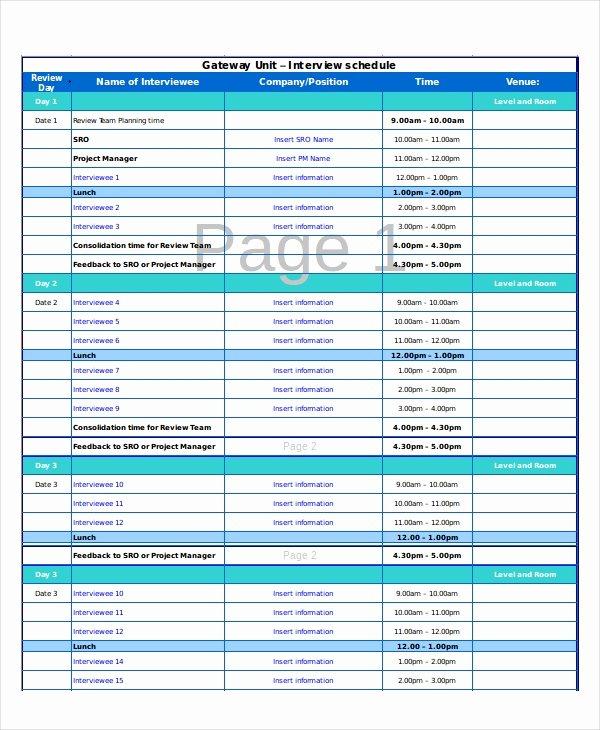 Interview Schedule Template Excel Inspirational Excel Schedule Template 11 Free Pdf Word Download
