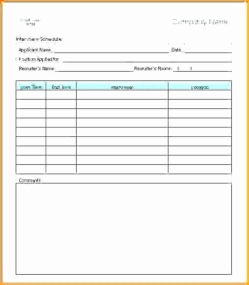 Interview Schedule Template Excel Lovely Interview Schedule Template