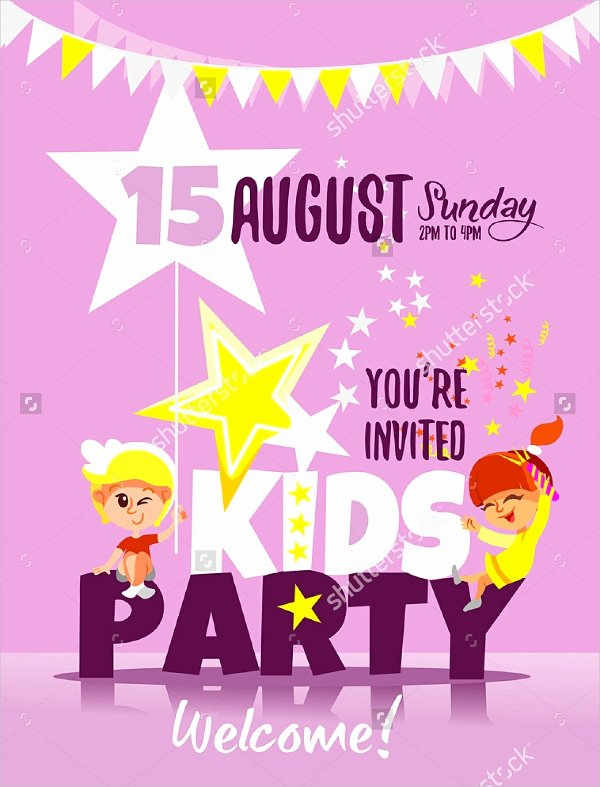 Kids Party Invitation Template Awesome 19 Kids Party Invitation Designs & Templates Psd Ai