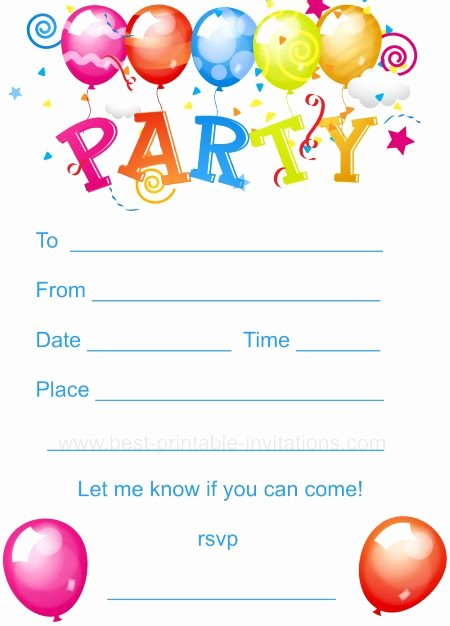 Kids Party Invitation Template Beautiful Kids Birthday Party Invites