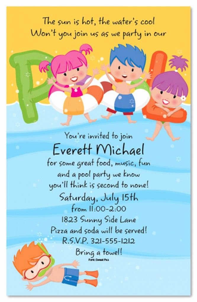 Kids Party Invitation Template Lovely Free Printable Kids Pool Party Invitations Templates 4