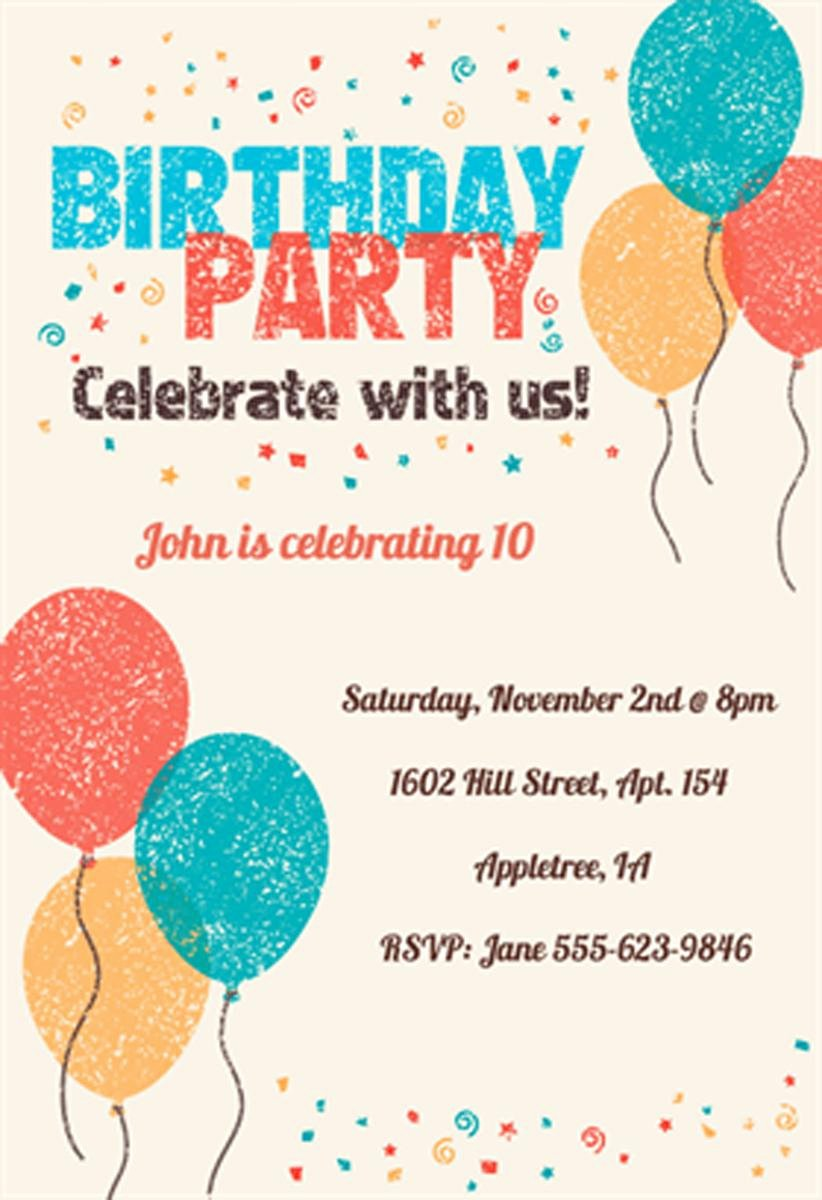 Kids Party Invitation Template Unique 18 Birthday Invitations for Kids – Free Sample Templates