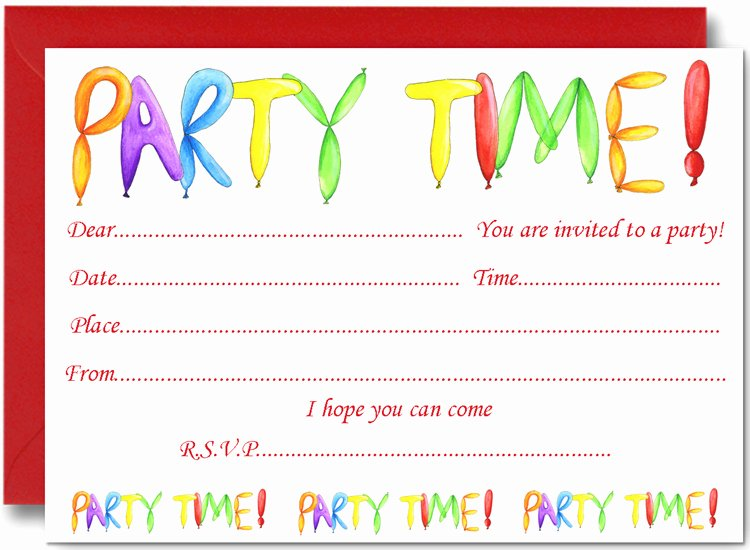 Kids Party Invitation Template Unique Free Birthday Party Invites for Kids – Free Printable