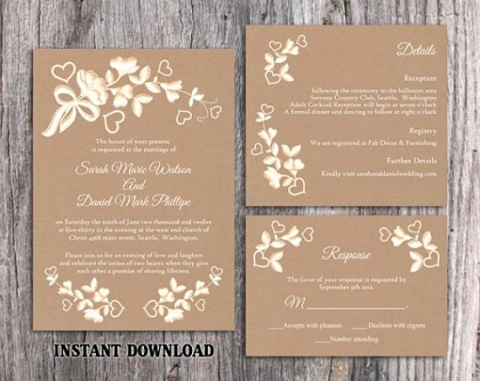 Lace Wedding Invitation Template Awesome Awesome Free Printable Rustic Wedding Invitation Templates