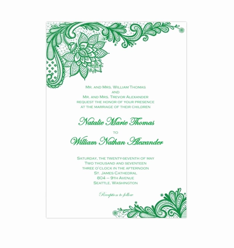 Lace Wedding Invitation Template Awesome Vintage Lace Wedding Invitation Emerald Green Wedding
