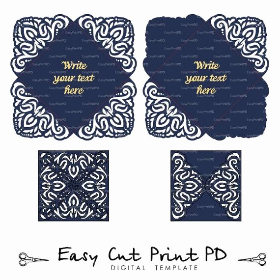 Lace Wedding Invitation Template Beautiful Lace Wedding Invitation Card Template Four Fold Envelope