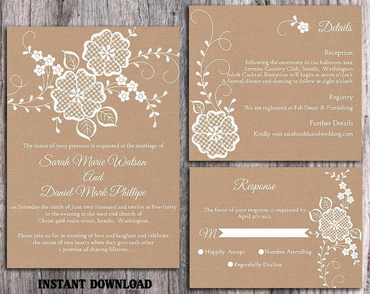 Lace Wedding Invitation Template Best Of Diy Lace Wedding Invitation Template Set Editable Word