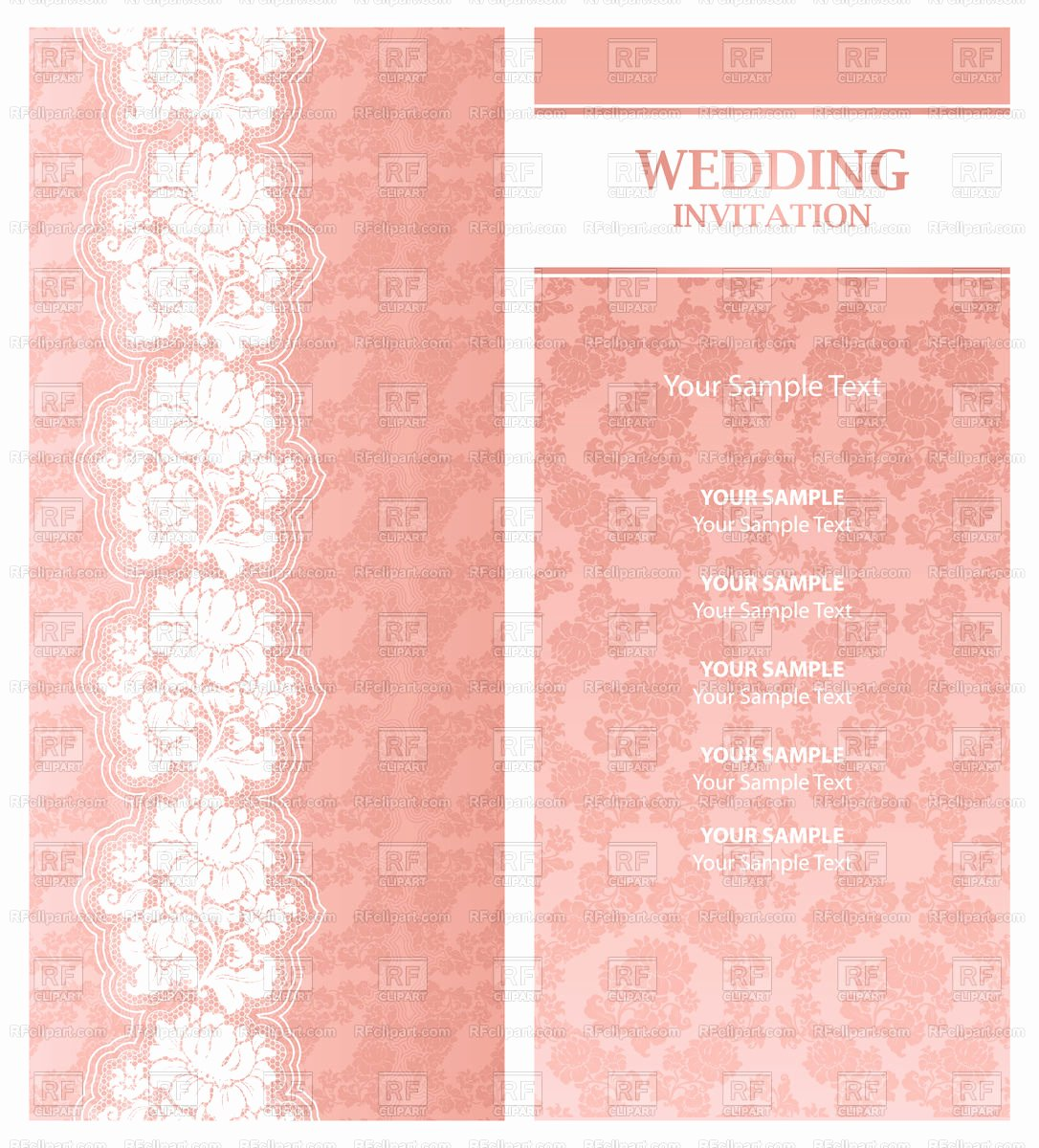 Lace Wedding Invitation Template Fresh Pink Wedding Invitation Template with Floral Lace Vector