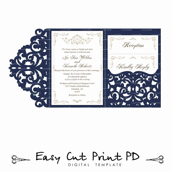 Lace Wedding Invitation Template Fresh Wedding Invitation Set Of Tri Fold Lace Pocket Envelope 5x7