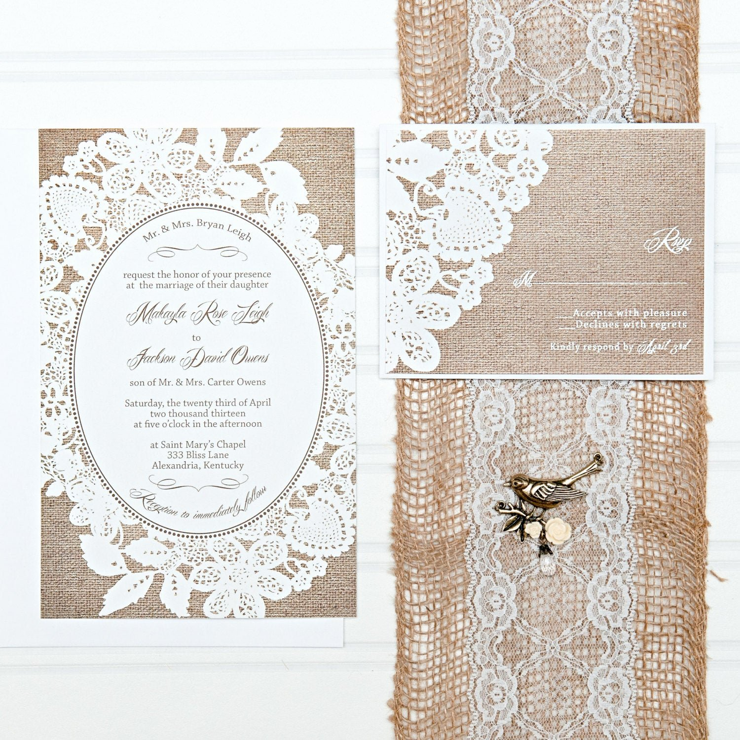 Lace Wedding Invitation Template Inspirational Burlap and Lace Wedding Invitation Suite Custom Invites