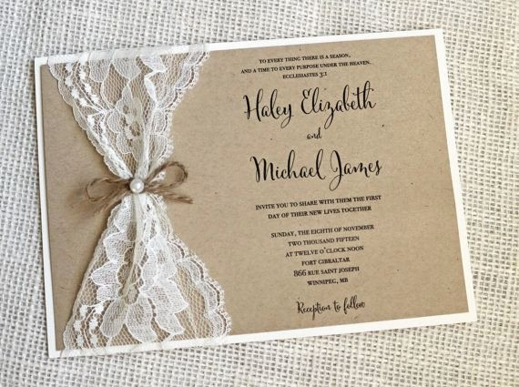 Lace Wedding Invitation Template Inspirational Rustic Wedding Invitation Lace Wedding Invitation