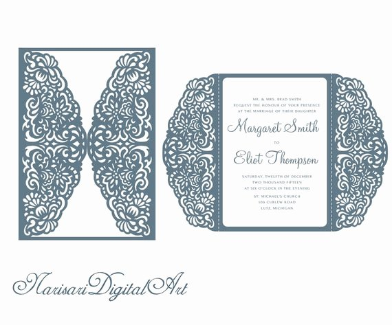 Lace Wedding Invitation Template Lovely Laser Cut Lace Wedding Invitation Template 5x7 Gate Fold