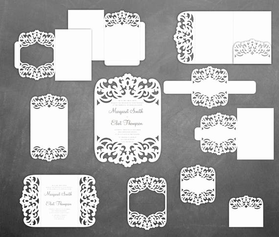Lace Wedding Invitation Template Luxury Set Lace Wedding Invitation Templates Pocket Gate Fold