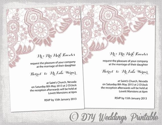 Lace Wedding Invitation Template Luxury Wedding Invitation Template Antique Lace by