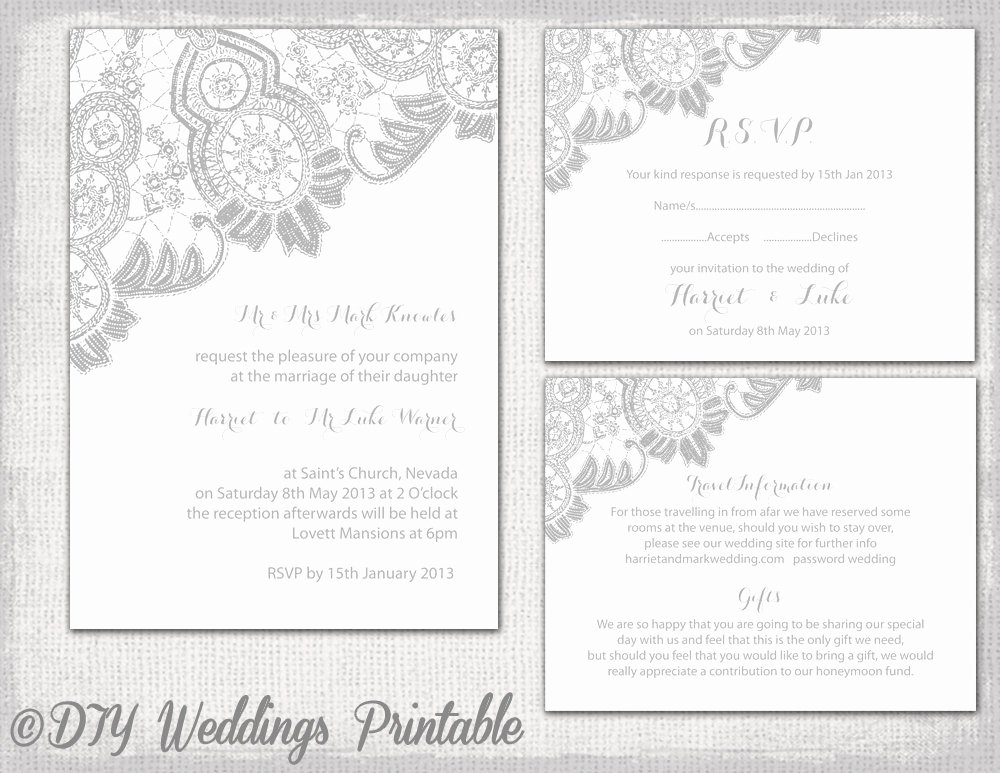 Lace Wedding Invitation Template New Lace Wedding Invitation Template Silver Gray Antique