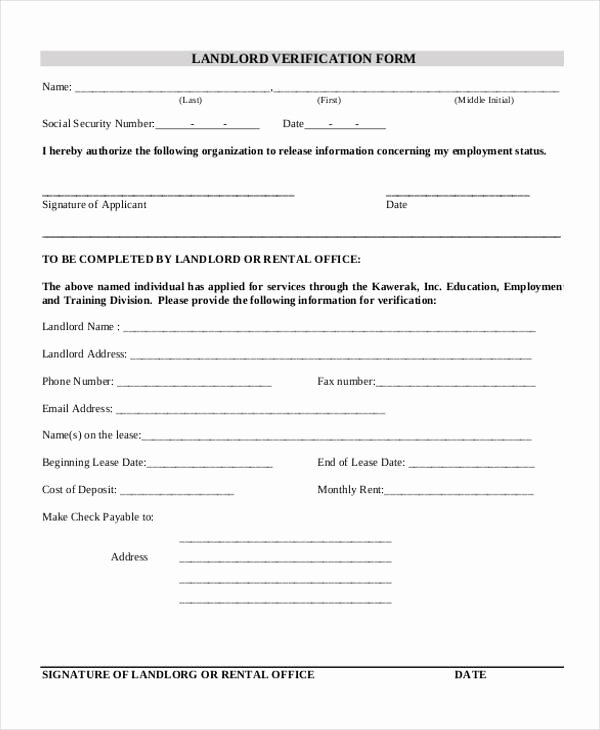 Landlord Verification form Template Awesome Free 33 Verification form Templates