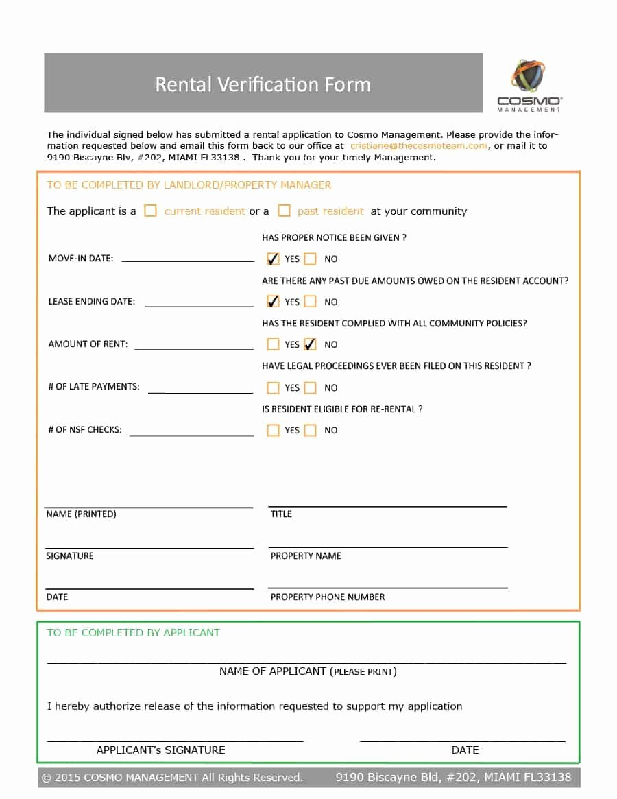 Landlord Verification form Template Best Of 29 Rental Verification forms for Landlord or Tenant