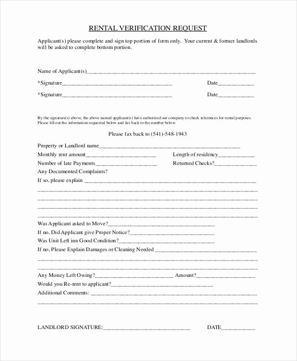 Landlord Verification form Template Best Of Free 33 Verification form Templates