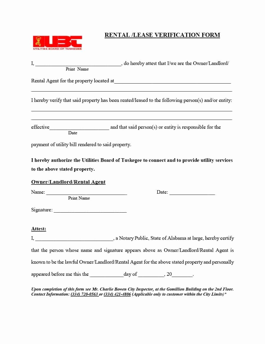 Landlord Verification form Template Fresh 29 Rental Verification forms for Landlord or Tenant