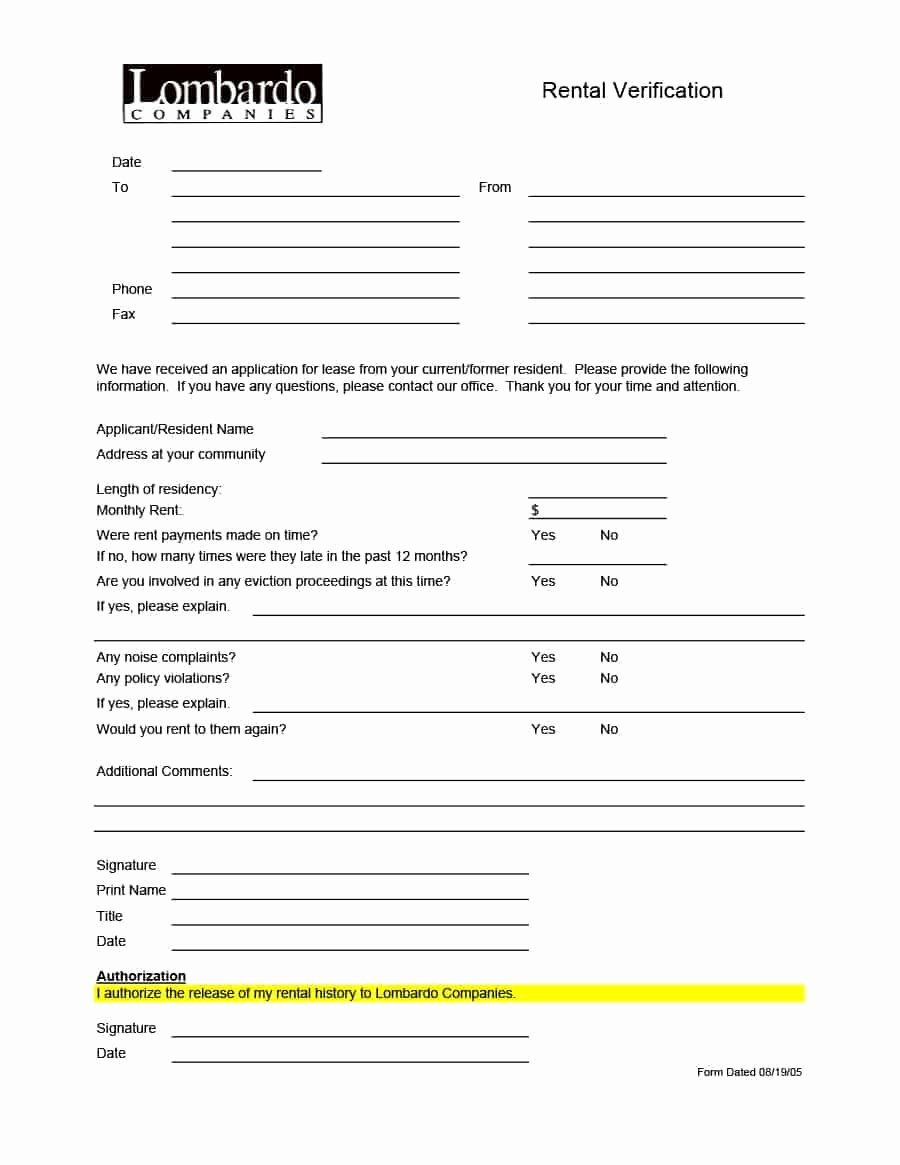 Landlord Verification form Template Inspirational 29 Rental Verification forms for Landlord or Tenant
