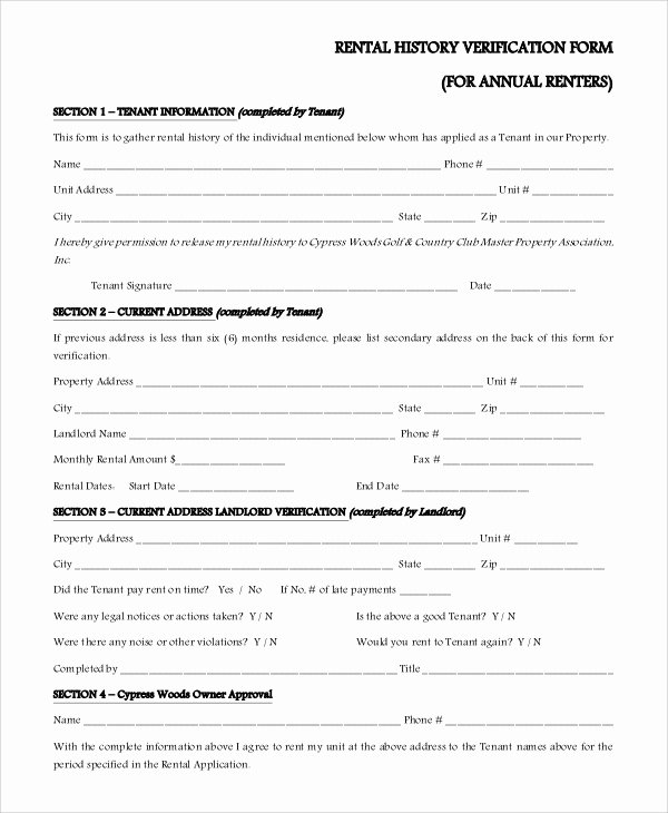 Landlord Verification form Template New Sample Rental Verification form 10 Examples In Pdf Word