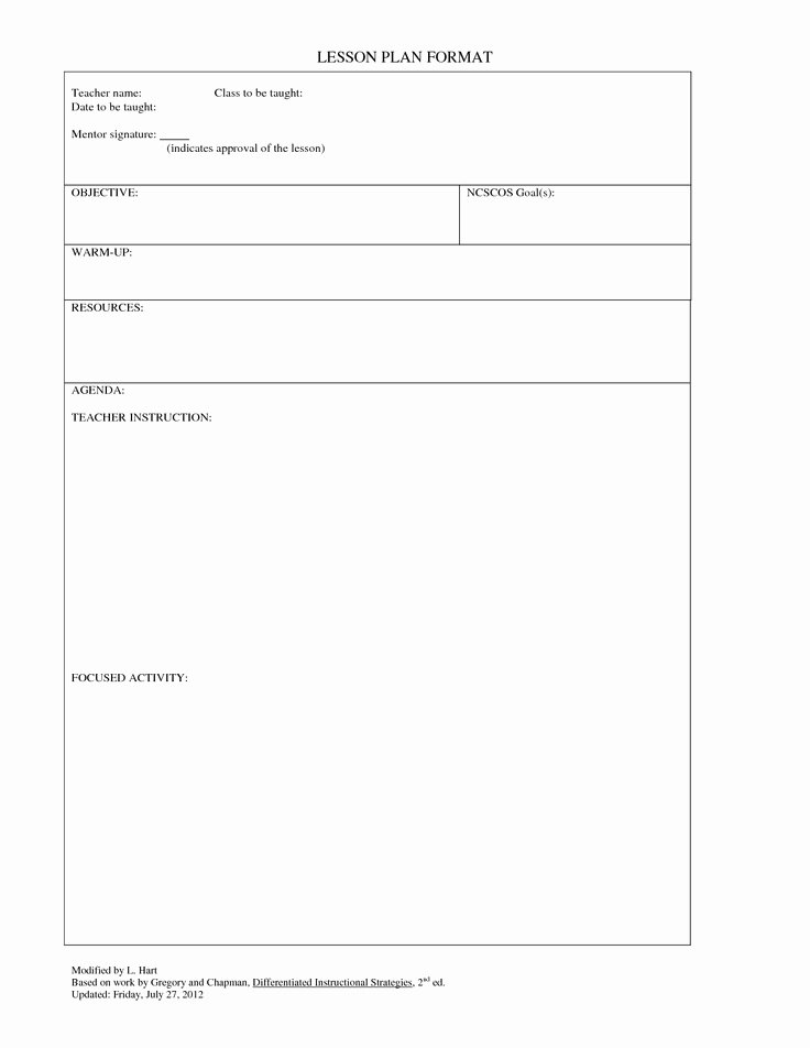 Lesson Plan Template College Awesome Blank Lesson Plans for Teachers