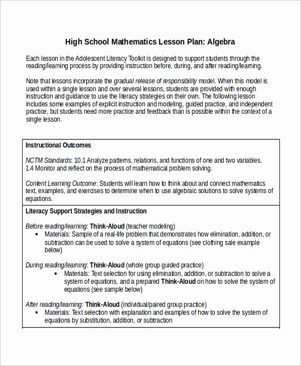 Lesson Plan Template College Awesome Lesson Plan Template High School Math – Printable Schedule