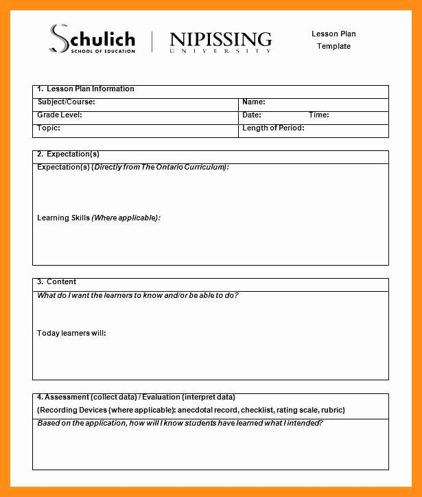 Lesson Plan Template College Luxury 9 10 College Course Planning Template