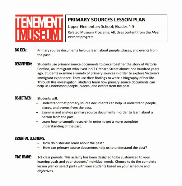 Lesson Plan Template College Unique Sample Elementary Lesson Plan 9 Documents In Pdf