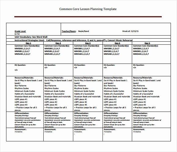 Lesson Plan Template Common Core Beautiful Best S Of Core Curriculum Lesson Plan Template