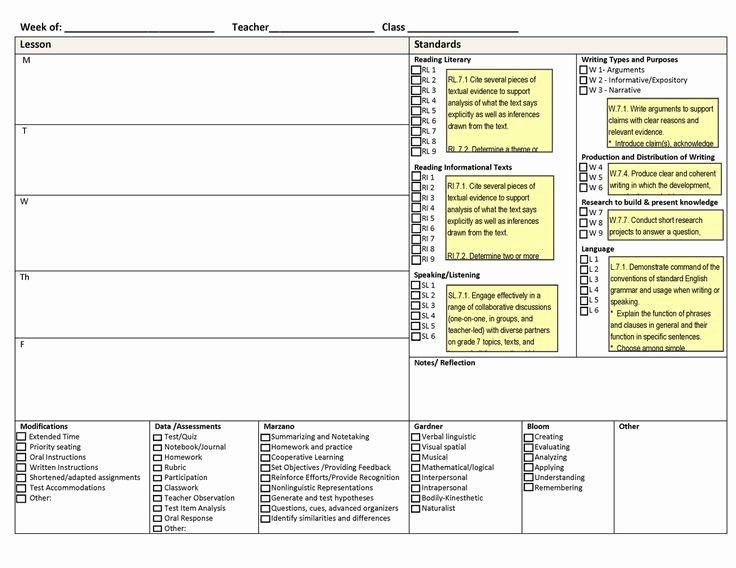 Lesson Plan Template Common Core Elegant Lovely Ccss Weekly Lesson Planning Template